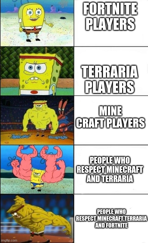 players |  FORTNITE PLAYERS; TERRARIA PLAYERS; MINE CRAFT PLAYERS; PEOPLE WHO RESPECT MINECRAFT AND TERRARIA; PEOPLE WHO RESPECT MINECRAFT,TERRARIA AND FORTNITE | image tagged in buff spongebob | made w/ Imgflip meme maker