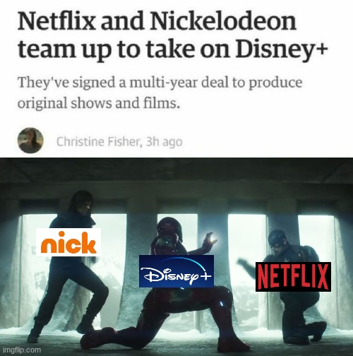 Nick and net vs disney | image tagged in disney,netflix,nickelodeon,captain america civil war | made w/ Imgflip meme maker