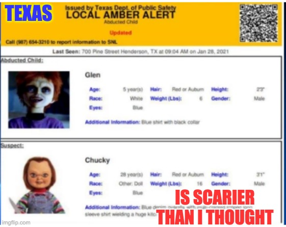 Improbable Amber Alert |  TEXAS; IS SCARIER THAN I THOUGHT | image tagged in texas,mistake,horror | made w/ Imgflip meme maker