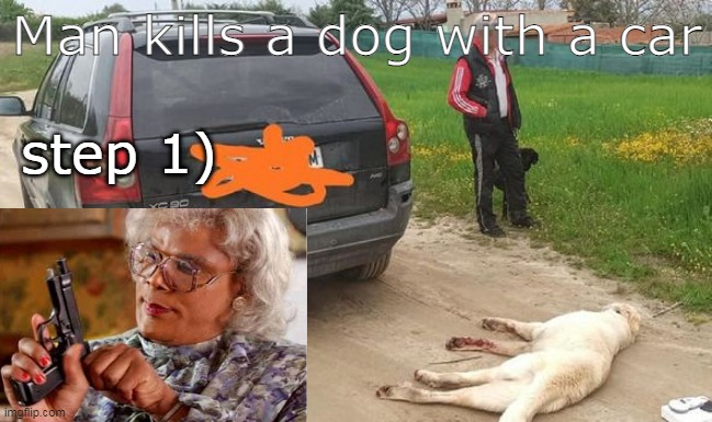 the guy that killed the dog should be in jail for 1000 years |  Man kills a dog with a car; step 1) | image tagged in dogs,evil | made w/ Imgflip meme maker