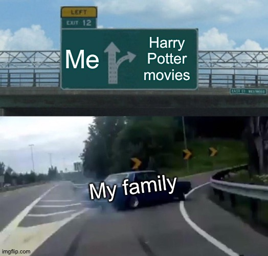 Oof |  Me; Harry Potter movies; My family | image tagged in memes,left exit 12 off ramp | made w/ Imgflip meme maker