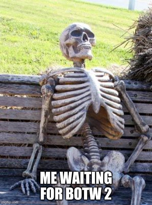 pLZ JuST HuRrY Up NiNTenDo |  ME WAITING FOR BOTW 2 | image tagged in memes,waiting skeleton,the legend of zelda breath of the wild,waiting | made w/ Imgflip meme maker