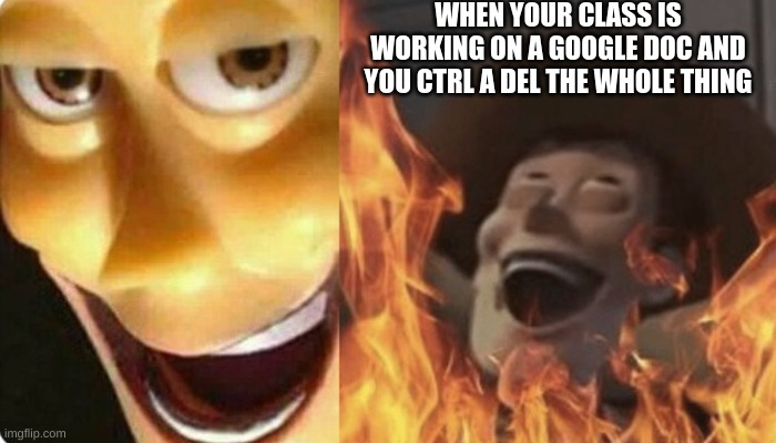 evil woody |  WHEN YOUR CLASS IS WORKING ON A GOOGLE DOC AND YOU CTRL A DEL THE WHOLE THING | image tagged in woody | made w/ Imgflip meme maker