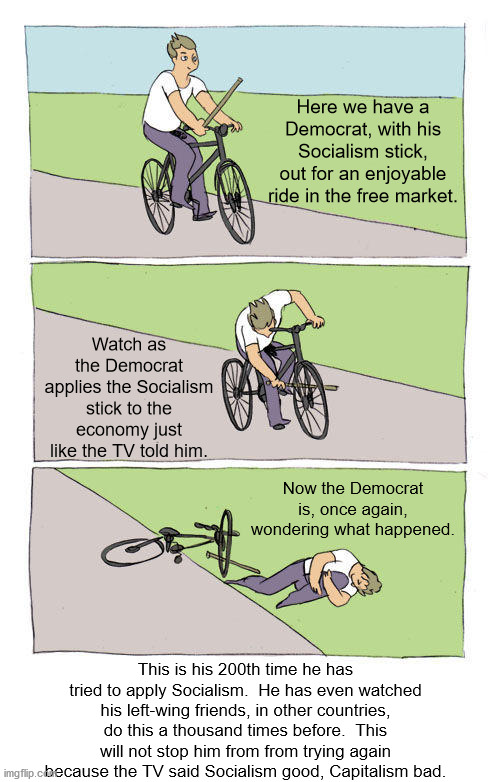 Economic illiteracy is the hallmark of the leftist ideologies. |  Here we have a Democrat, with his Socialism stick, out for an enjoyable ride in the free market. Watch as the Democrat applies the Socialism stick to the economy just like the TV told him. Now the Democrat is, once again, wondering what happened. This is his 200th time he has tried to apply Socialism.  He has even watched his left-wing friends, in other countries, do this a thousand times before.  This will not stop him from from trying again because the TV said Socialism good, Capitalism bad. | image tagged in socialism,free market,brainwashing | made w/ Imgflip meme maker