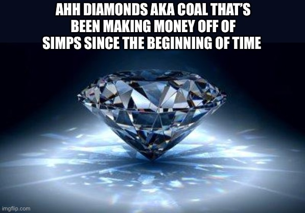 The simps money pit |  AHH DIAMONDS AKA COAL THAT'S BEEN MAKING MONEY OFF OF SIMPS SINCE THE BEGINNING OF TIME | image tagged in diamond,simps,memes,funny,true,sad but true | made w/ Imgflip meme maker