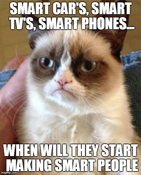 Grumpy Cat | SMART CAR'S, SMART TV'S, SMART PHONES... WHEN WILL THEY START MAKING SMART PEOPLE | image tagged in memes,grumpy cat | made w/ Imgflip meme maker