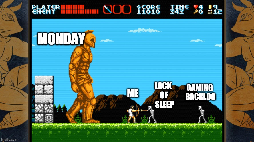Weekends be like |  MONDAY; LACK  OF  SLEEP; GAMING  BACKLOG; ME | image tagged in weekend plans vs monday,gaming,sleep,videogames,gamer | made w/ Imgflip meme maker