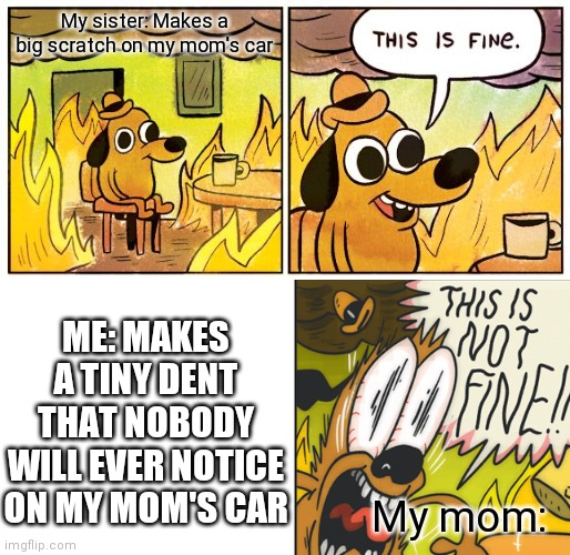 I get cars cost a lot, but this is not fair... |  My sister: Makes a big scratch on my mom's car; ME: MAKES A TINY DENT THAT NOBODY WILL EVER NOTICE ON MY MOM'S CAR; My mom: | image tagged in memes,this is fine,car,unfair,this is not fine | made w/ Imgflip meme maker