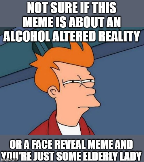 NOT SURE IF THIS MEME IS ABOUT AN ALCOHOL ALTERED REALITY OR A FACE REVEAL MEME AND YOU'RE JUST SOME ELDERLY LADY | image tagged in memes,futurama fry | made w/ Imgflip meme maker
