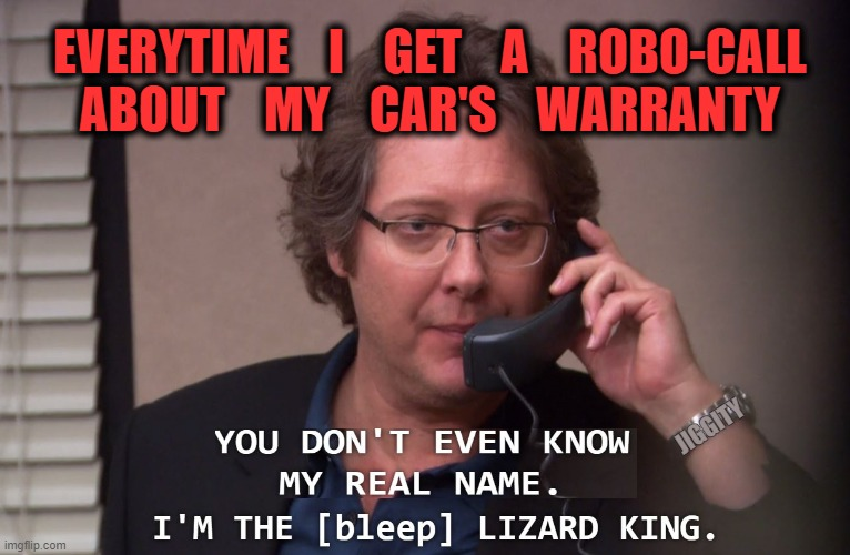 Robert California I'm the [bleep] Lizard King |  EVERYTIME    I    GET    A    ROBO-CALL ABOUT    MY    CAR'S    WARRANTY; JIGGITY | image tagged in robert california i'm the bleep lizard king,the office,robots,phones,annoyed face,sales | made w/ Imgflip meme maker