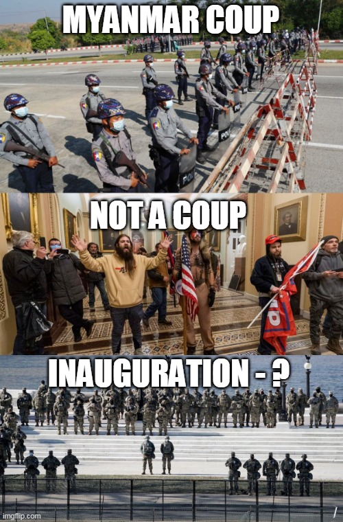 Spot the coup |  MYANMAR COUP; NOT A COUP; INAUGURATION - ? | image tagged in spot the difference,inauguration,capitol hill | made w/ Imgflip meme maker