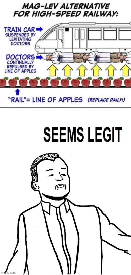 this is beyond science | image tagged in mag-lev alternative high-speed railway,seems legit,apple,doctor,hmmm,this is beyond science | made w/ Imgflip meme maker