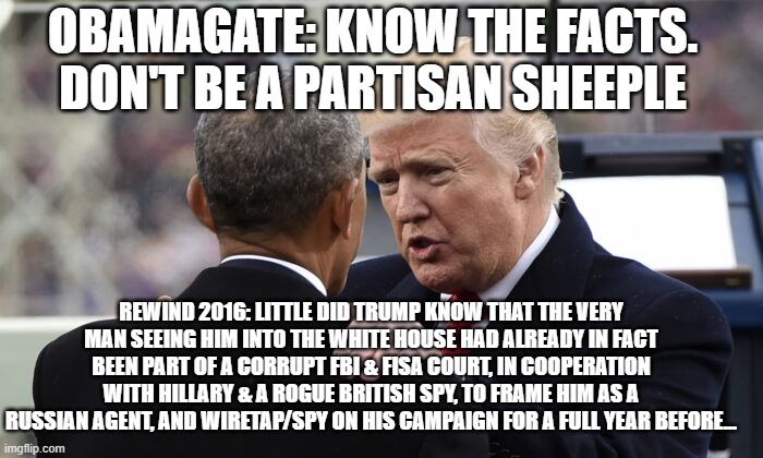 ObamaGate2016: The Proven Track Record of Corrupt Fruit for Pro-Trumpers to Question Govt Malfeasance, Voter Fraud 2020 |  OBAMAGATE: KNOW THE FACTS. DON'T BE A PARTISAN SHEEPLE; REWIND 2016: LITTLE DID TRUMP KNOW THAT THE VERY MAN SEEING HIM INTO THE WHITE HOUSE HAD ALREADY IN FACT BEEN PART OF A CORRUPT FBI & FISA COURT, IN COOPERATION WITH HILLARY & A ROGUE BRITISH SPY, TO FRAME HIM AS A RUSSIAN AGENT, AND WIRETAP/SPY ON HIS CAMPAIGN FOR A FULL YEAR BEFORE... | image tagged in vote fraud,obamagate,biden,potus,fbi,corruption | made w/ Imgflip meme maker