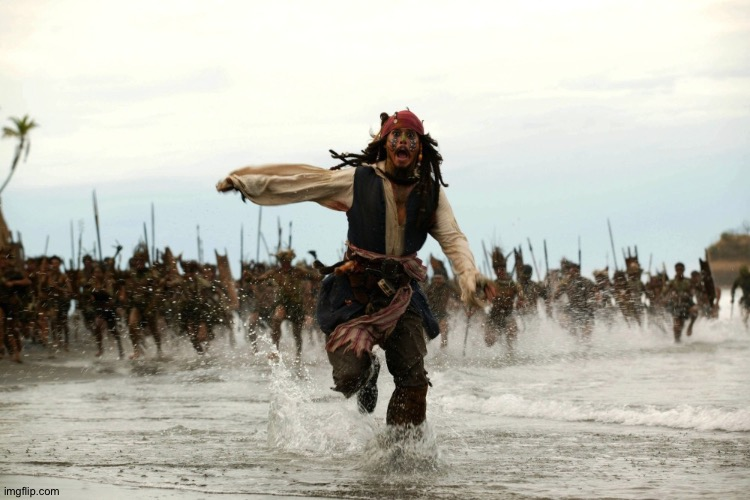 captain jack sparrow running | image tagged in captain jack sparrow running | made w/ Imgflip meme maker