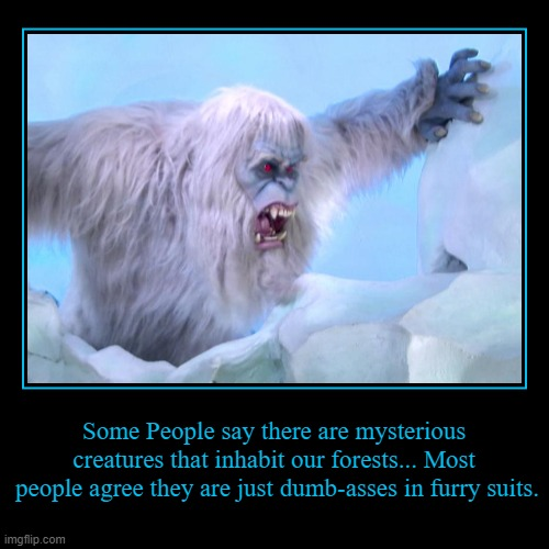 There are mysterious creatures that inhabit our forests... Most people agree they are just dumb-asses in furry suits. | Some People say there are mysterious  creatures that inhabit our forests... Most  people agree they are just dumb-asses in furry suits. | image tagged in funny,demotivationals,dumb asses in furry suits | made w/ Imgflip demotivational maker