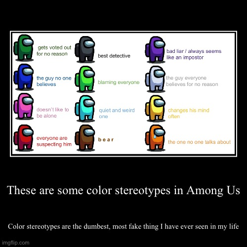 Color stereotypes are fake | These are some color stereotypes in Among Us | Color stereotypes are the dumbest, most fake thing I have ever seen in my life | image tagged in funny,demotivationals,gaming,online gaming,among us | made w/ Imgflip demotivational maker