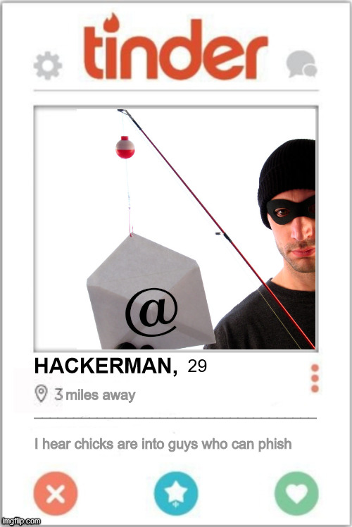 Tinder Profile |  HACKERMAN, 29; miles away ____________________________________      I hear chicks are into guys who can phish | image tagged in tinder profile | made w/ Imgflip meme maker