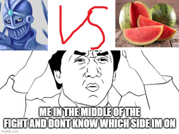 WATERMELON VS CHARIOTSU |  ME IN THE MIDDLE OF THE FIGHT AND DONT KNOW WHICH SIDE IM ON | image tagged in memes,jackie chan wtf,jojo's bizarre adventure,watermelon,original meme | made w/ Imgflip meme maker