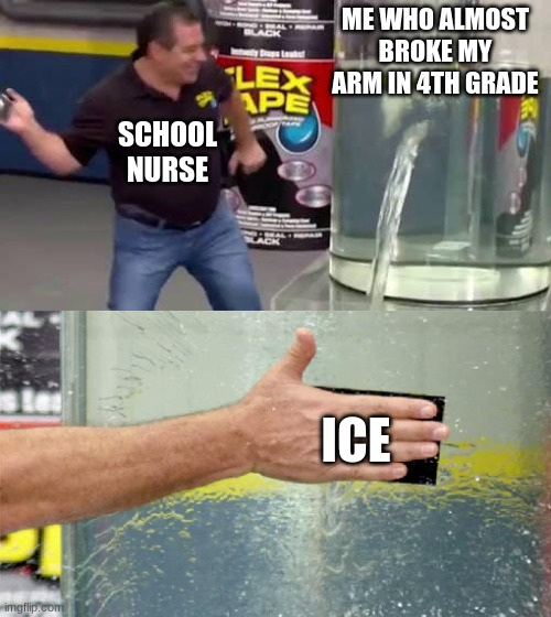 This really did happened to me |  ME WHO ALMOST BROKE MY ARM IN 4TH GRADE; SCHOOL NURSE; ICE | image tagged in flex tape | made w/ Imgflip meme maker