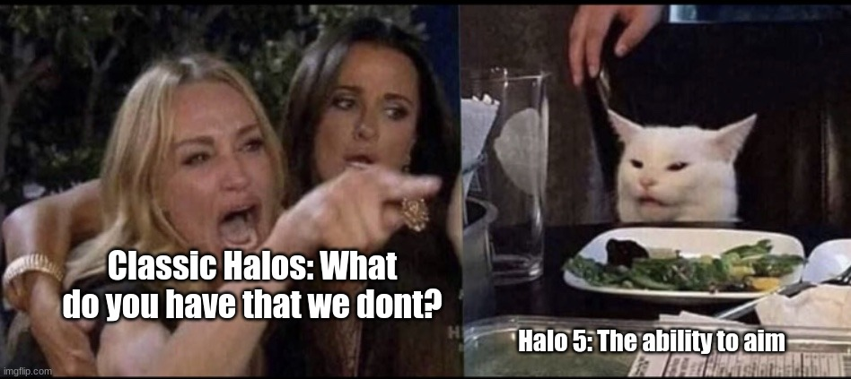 Karen Carpenter and Smudge Cat |  Classic Halos: What do you have that we dont? Halo 5: The ability to aim | image tagged in karen carpenter and smudge cat | made w/ Imgflip meme maker