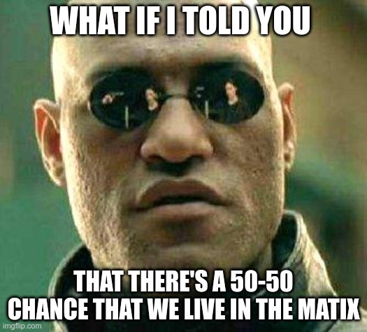 What if i told you |  WHAT IF I TOLD YOU; THAT THERE'S A 50-50 CHANCE THAT WE LIVE IN THE MATIX | image tagged in what if i told you | made w/ Imgflip meme maker