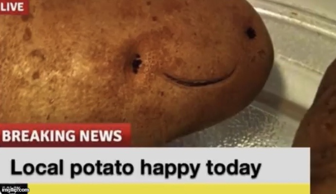 Local Potato happy today | image tagged in local potato happy today | made w/ Imgflip meme maker