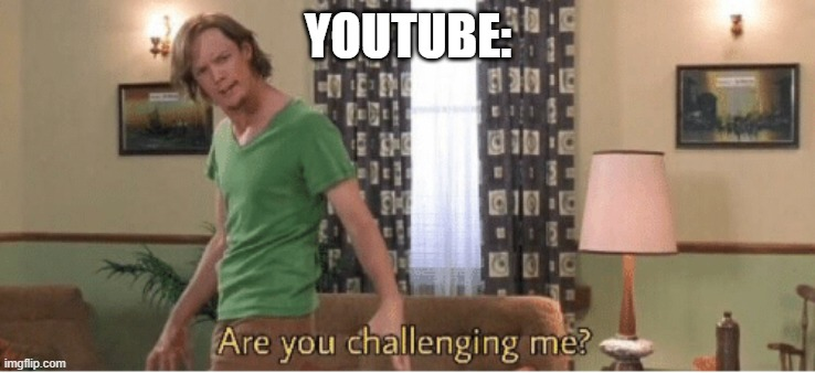 are you challenging me | YOUTUBE: | image tagged in are you challenging me | made w/ Imgflip meme maker