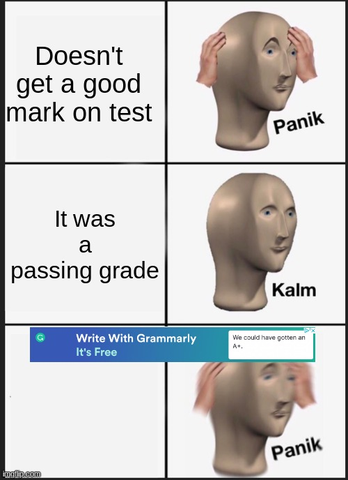 Grammarly helps tests |  Doesn't get a good mark on test; It was a passing grade | image tagged in memes,panik kalm panik,infinite iq | made w/ Imgflip meme maker