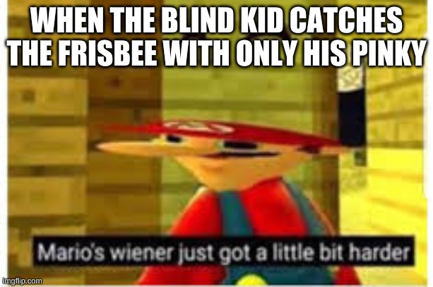 Mario's Wiener |  WHEN THE BLIND KID CATCHES THE FRISBEE WITH ONLY HIS PINKY | image tagged in mario's wiener,blind,kid,meme | made w/ Imgflip meme maker