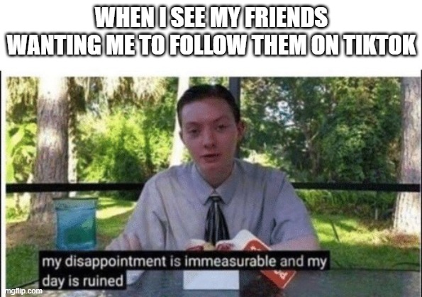 My dissapointment is immeasurable and my day is ruined |  WHEN I SEE MY FRIENDS WANTING ME TO FOLLOW THEM ON TIKTOK | image tagged in my dissapointment is immeasurable and my day is ruined | made w/ Imgflip meme maker
