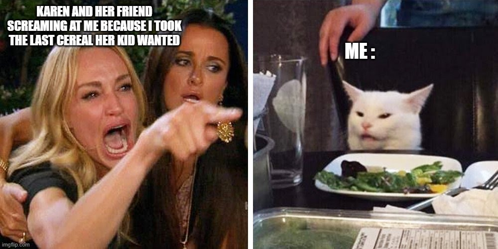 Funny? Idkk |  KAREN AND HER FRIEND SCREAMING AT ME BECAUSE I TOOK THE LAST CEREAL HER KID WANTED; ME : | image tagged in smudge the cat,karen carpenter and smudge cat | made w/ Imgflip meme maker