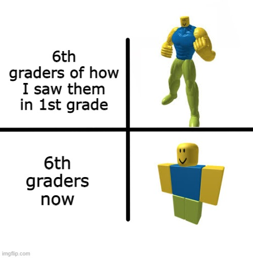 times change, man. time change |  6th graders of how I saw them in 1st grade; 6th graders now | image tagged in memes,blank starter pack,roblox noob,6th graders | made w/ Imgflip meme maker