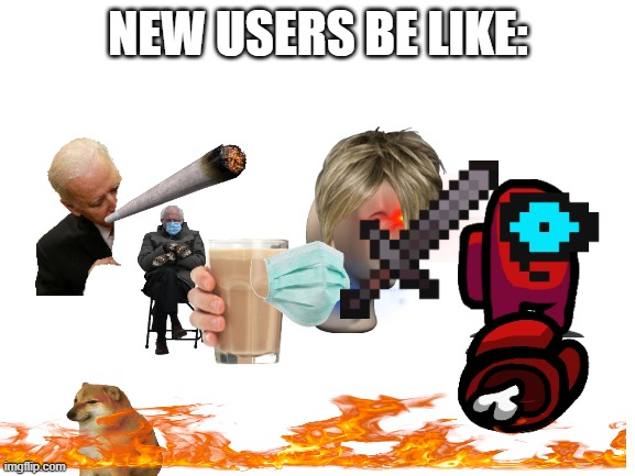 New users: |  NEW USERS BE LIKE: | image tagged in blank white template,new users,images,too many | made w/ Imgflip meme maker