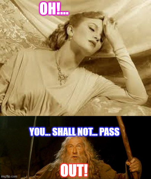 The Lord of The Rings 4 - a love story |  OH!... YOU... SHALL NOT... PASS; OUT! | image tagged in over dramatic faint,gandalf you shall not pass,funny memes,funny,lord of the rings | made w/ Imgflip meme maker