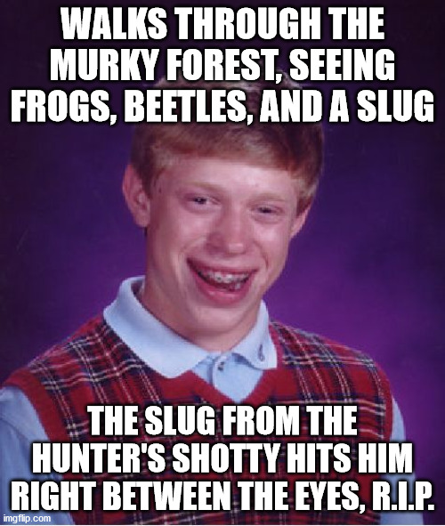 Hunter: I have made a 'grave' error >.<' |  WALKS THROUGH THE MURKY FOREST, SEEING FROGS, BEETLES, AND A SLUG; THE SLUG FROM THE HUNTER'S SHOTTY HITS HIM RIGHT BETWEEN THE EYES, R.I.P. | image tagged in memes,bad luck brian,forest,frog,shotgun,rip | made w/ Imgflip meme maker