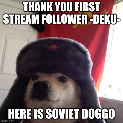 Russian Doge |  THANK YOU FIRST STREAM FOLLOWER -DEKU-; HERE IS SOVIET DOGGO | image tagged in russian doge | made w/ Imgflip meme maker