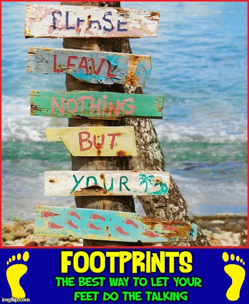 Happiness is... sun, sand, water & a girl |  FOOTPRINTS:; THE BEST WAY TO LET YOUR  FEET DO THE TALKING | image tagged in vince vance,memes,day at the beach,footprints,sand,feet | made w/ Imgflip meme maker