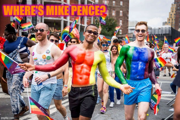 Where's Mike Pence? |  WHERE'S MIKE PENCE? | image tagged in pence,mike pence,gay,mike pence gay,proud boys | made w/ Imgflip meme maker