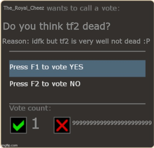 tf2 is still alive >:3 |  The_Royal_Cheez; Do you think tf2 dead? Reason: idfk but tf2 is very well not dead :P; 99999999999999999999999; 1 | image tagged in tf2 vote template | made w/ Imgflip meme maker