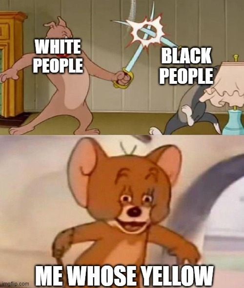 i mean its true |  BLACK PEOPLE; WHITE PEOPLE; ME WHOSE YELLOW | image tagged in tom and jerry swordfight,black people,white people,yellow people | made w/ Imgflip meme maker