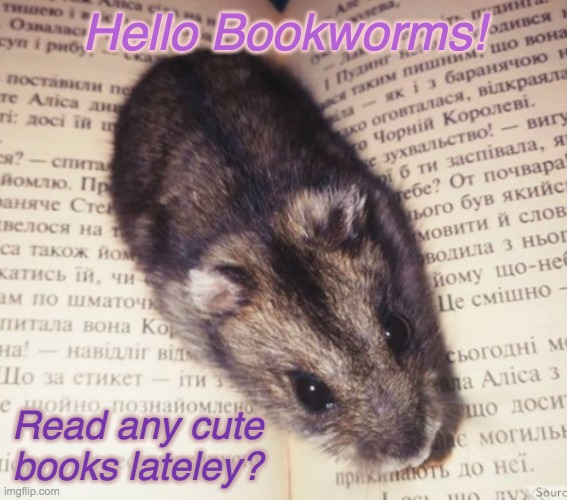 Reading rodent asks -- |  Hello Bookworms! Read any cute books lateley? | image tagged in literary hamster,rodents,books,reading | made w/ Imgflip meme maker