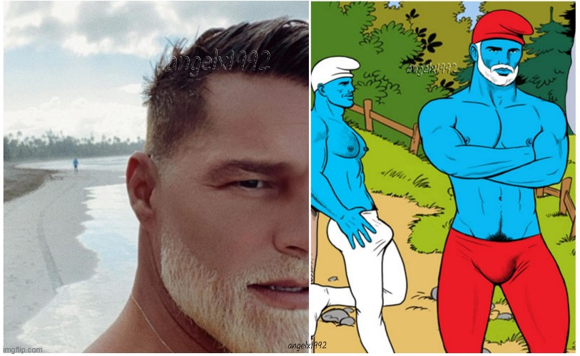 image tagged in beards,smurfs,lgbtq,ricky martin,bleach,blonde | made w/ Imgflip meme maker
