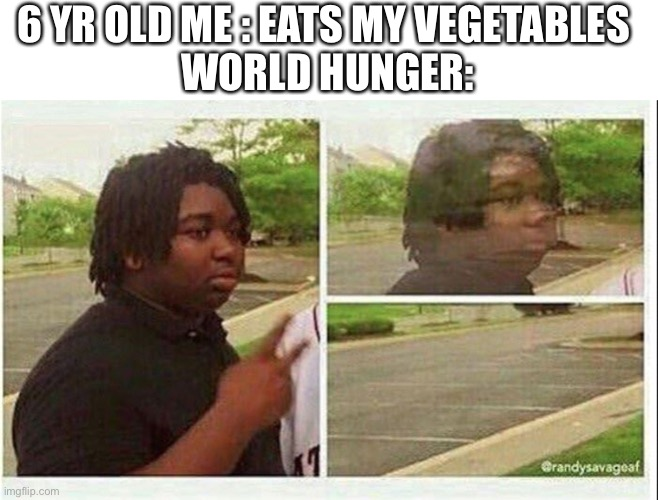 Black guy disappearing |  6 YR OLD ME : EATS MY VEGETABLES  WORLD HUNGER: | image tagged in black guy disappearing | made w/ Imgflip meme maker