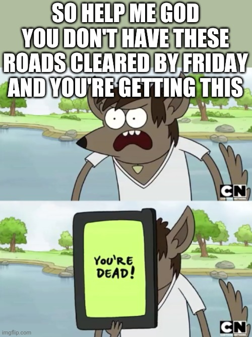 I can't help it I got plans this weekend |  SO HELP ME GOD YOU DON'T HAVE THESE ROADS CLEARED BY FRIDAY AND YOU'RE GETTING THIS | image tagged in you wanna see my phone,savage memes,memes,cold weather,roads,regular show | made w/ Imgflip meme maker