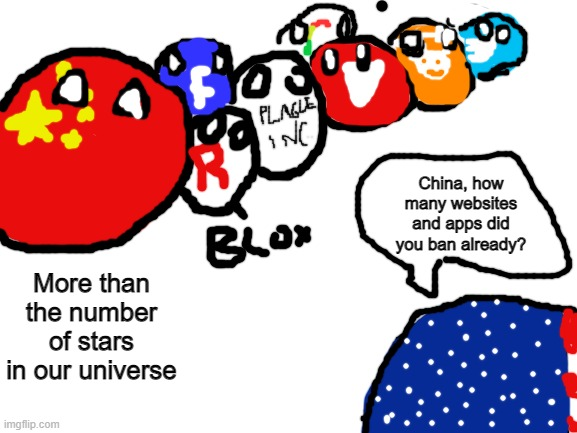 Banned: Facebook, Youtube, Tiktok, Roblox, Twitter, Reddit, Google, and Plague Inc. |  China, how many websites and apps did you ban already? More than the number of stars in our universe | image tagged in china,countryballs,usa,banned | made w/ Imgflip meme maker