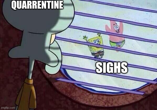 Squidward window |  QUARRENTINE; SIGHS | image tagged in squidward window | made w/ Imgflip meme maker