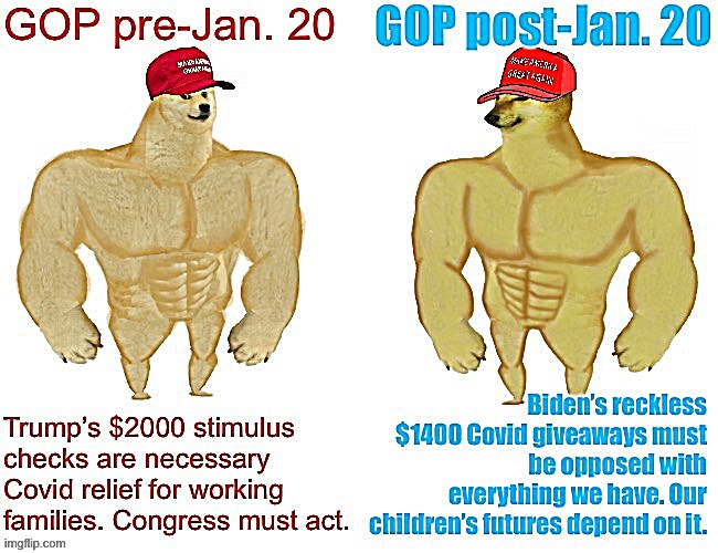 Things that make you go hmmm | image tagged in gop,gop hypocrite,conservative hypocrisy,covid-19,buff doge vs cheems,conservative logic | made w/ Imgflip meme maker