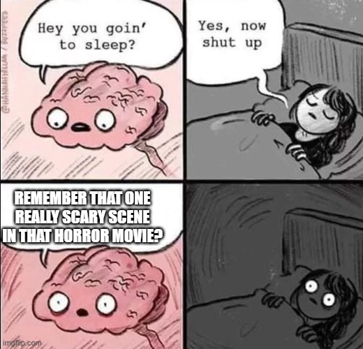 a_meme |  REMEMBER THAT ONE REALLY SCARY SCENE IN THAT HORROR MOVIE? | image tagged in waking up brain | made w/ Imgflip meme maker