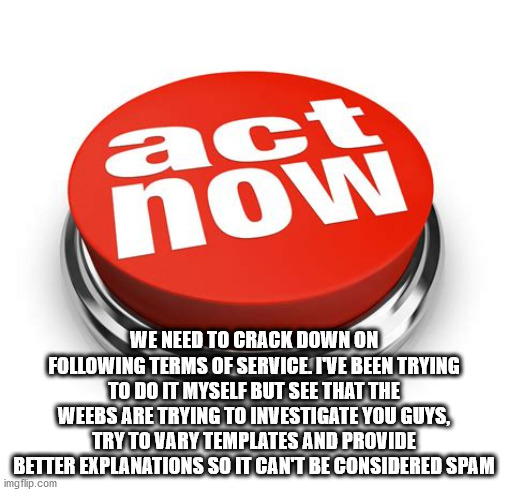 we need to do something now |  WE NEED TO CRACK DOWN ON FOLLOWING TERMS OF SERVICE. I'VE BEEN TRYING TO DO IT MYSELF BUT SEE THAT THE WEEBS ARE TRYING TO INVESTIGATE YOU GUYS, TRY TO VARY TEMPLATES AND PROVIDE BETTER EXPLANATIONS SO IT CAN'T BE CONSIDERED SPAM | image tagged in act now | made w/ Imgflip meme maker