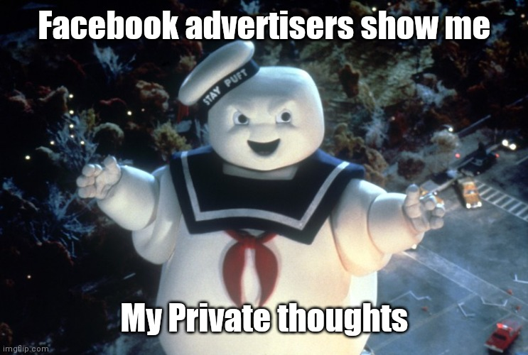 Facebook advertisers show me my private thoughts |  Facebook advertisers show me; My Private thoughts | image tagged in stay puft marshmallow man,ai,mind reading,facebook,robots,monsters | made w/ Imgflip meme maker